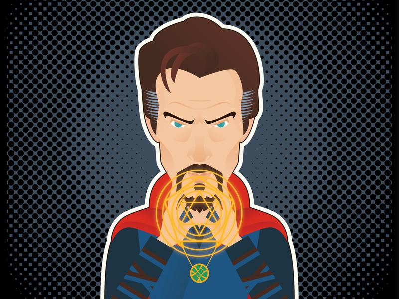 Dr. Strange: Avengers Homage bennedict cumberbatch dr extraño avengers avengersendgame dr strange design minimalism icon a day icon graphic deisgn flat design illustration vector adobe illustrator cc