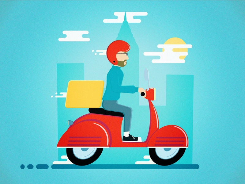 Online Food Delivery Service - Dress for the job you want! city scooter vespa pizza job delivery minimalism design flat design illustration vector adobe illustrator cc