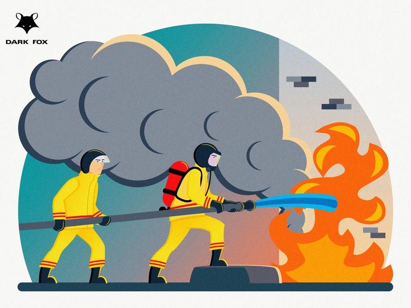 Fire Fighter   2mb microstock jobs firefighter freepik shutterstock minimalism graphic deisgn flat design vector illustration adobe illustrator cc