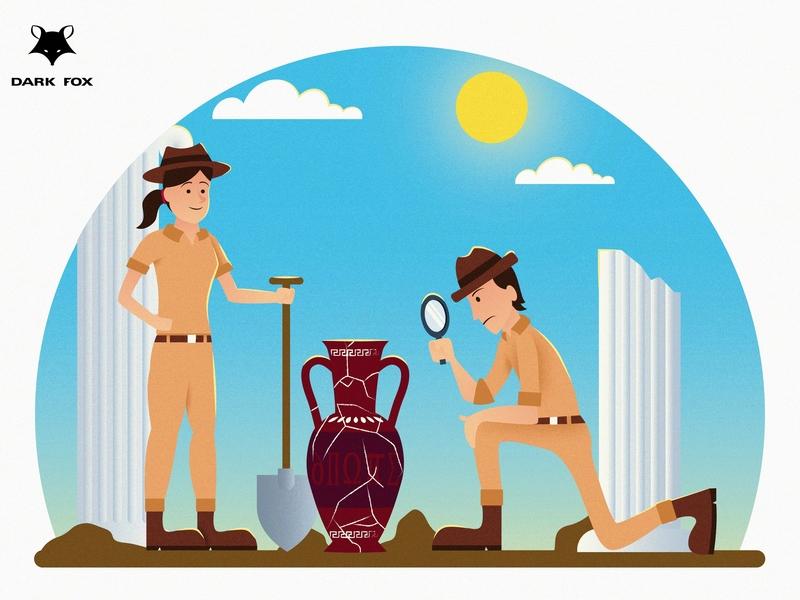 Archaeologists - Dress for the Job You Want!! shutterstock freepik microstock illustration jobs archaeologist archaeology minimalism graphic deisgn flat design illustration vector adobe illustrator cc