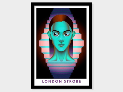 London Strobe blue neon illustration portrait