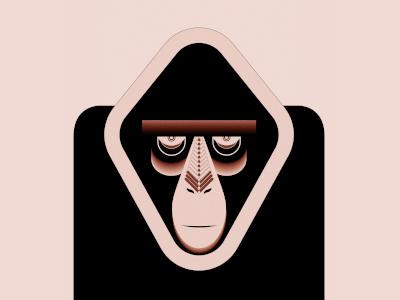 I Have My Eye On You animal watching illustration monkey