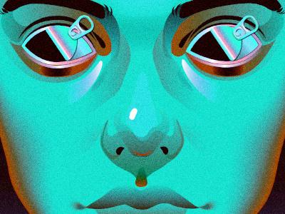 London Strobe Detail blue neon illustration portrait