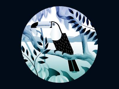 Toucan can blue jungle illustration bird