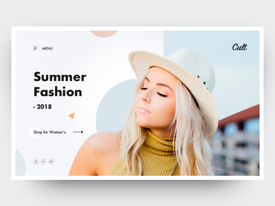 Cult clean blue summer fashion parallel hat web design ui girl landing home design
