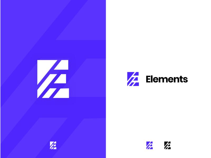 Elements Logo symbol lines letter puzzle particles logo e elements