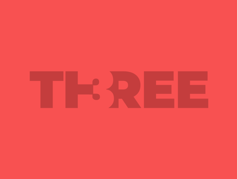 TH3REE letters number negative space 3d three