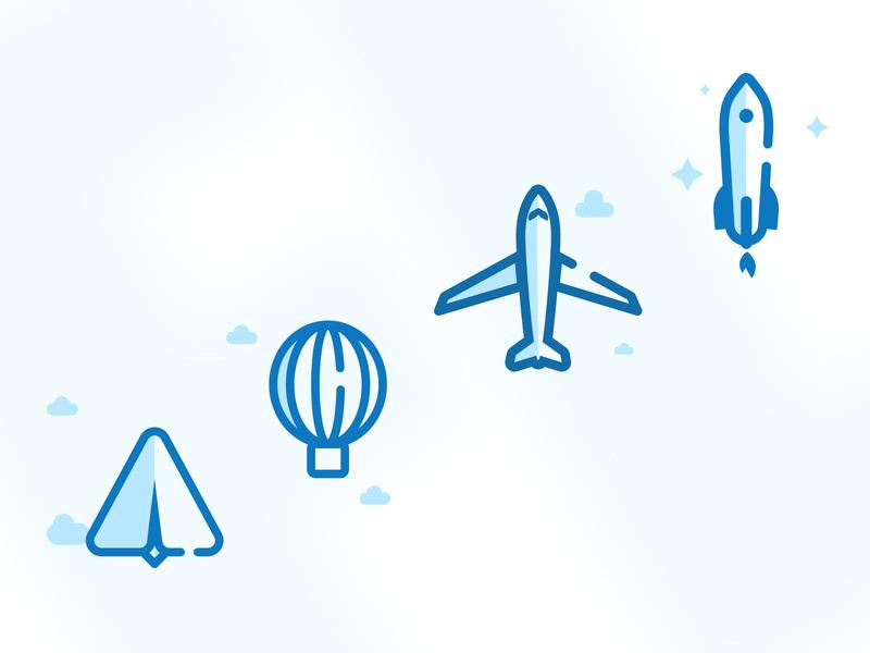 Icons Flying rocket baloon plane flying design web icons