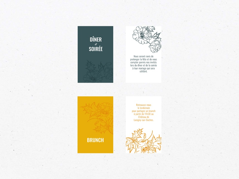 Floral Wedding Invitation - Brunch and Diner Cards brunch diner illustration floral design wedding wedding invitation