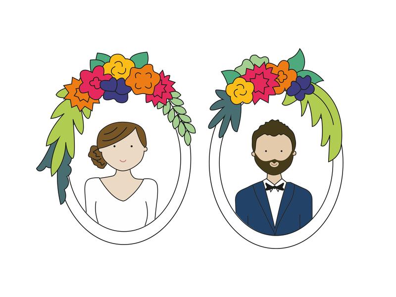Wedding portrait groom bride illustration wedding wedding portrait
