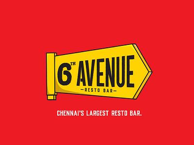 6th Avenue resto bar logo logodesign brand identity logotype branding suman lettering chennai typography illustration