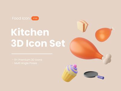 Kitchen/Food 3D Icon Set blender 3d