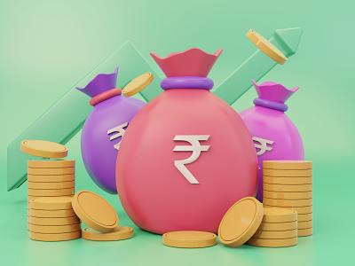 Finance Growth finance icon uidesign blender 3dillustration motion graphics 3d ui