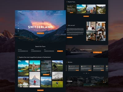 Landing page web design for Switzerland travel agency landingpage dark theme travel agency switzerland webdesign user inteface user experience ui ux concept design