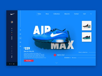Nike Air Max UI/UX design concept blue nike air max shoe nike shoes webdesign web user inteface user experience ui ux concept design