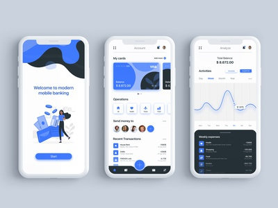 Financial app UI/UX Design concept