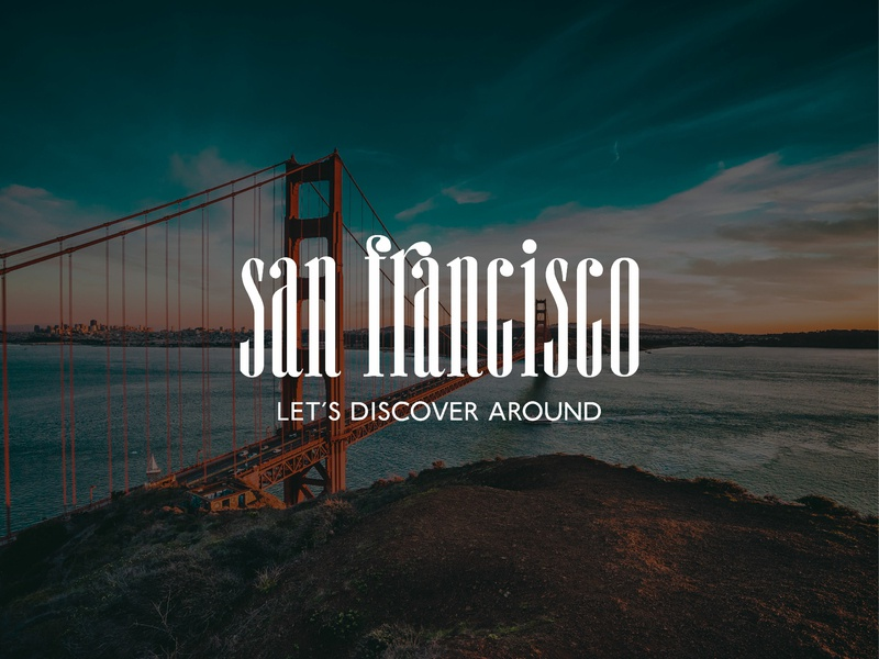 Logo concept for guide center of San Francisco golden gate bridge discover guide travel america usa california branding typography graphic  design vector concept logo graphic design