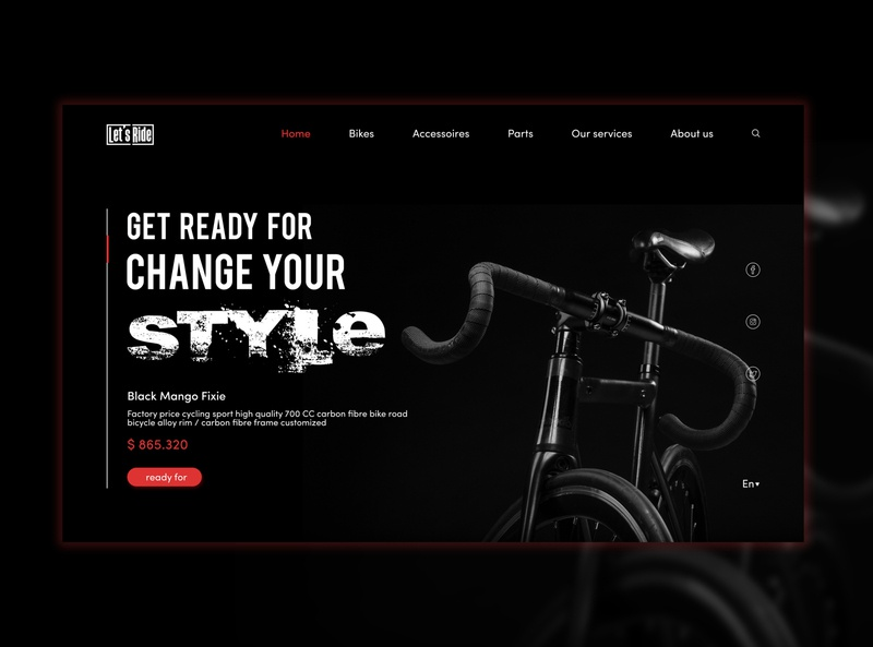 Bicycle Selling Website UI design concept vector selling bike bycicle user inteface black ux user experience ui concept design