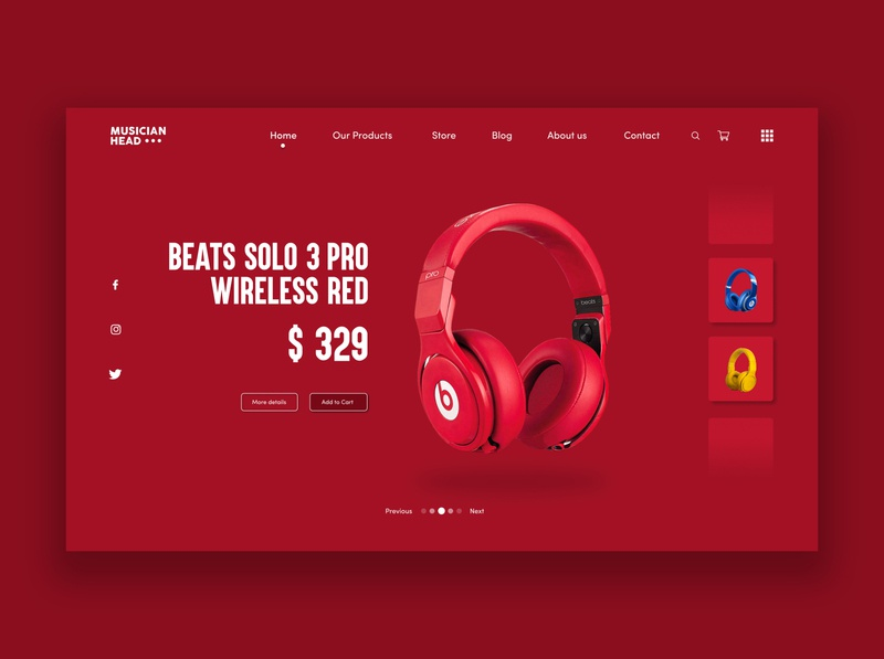 Wireless Headphones Product Page UI concept design. Beats webdesign web page product headphones red user inteface user experience ux ui concept design