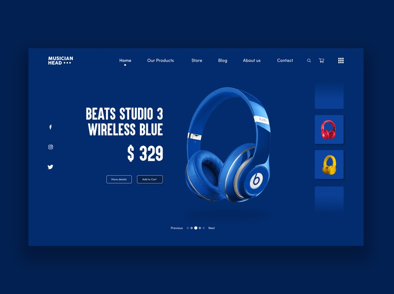 Wireless Headphones Product Page UI concept design. Beats brand music web webdesig headphones blue user inteface user experience ui ux concept design