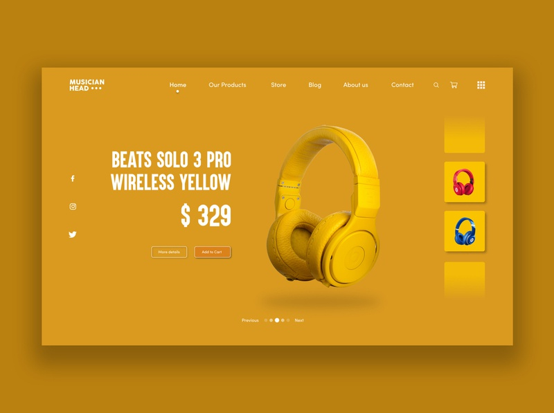 Wireless Headphones Product Page UI concept design. Beats brand music product page headphones web design yellow web user inteface user experience ui ux concept design