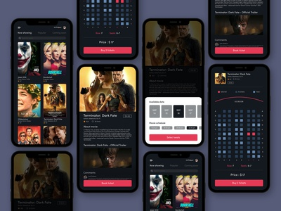 Movie Ticket App - Select date and seats - Dark Theme date seats booking mobile ui design ticket movie app cinema mobile app app web vector user inteface user experience ui ux concept design