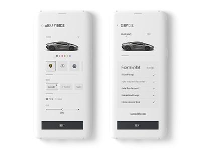 Car Garage App photoshop minimalism app design garage service car clean creative mockup minimal ui