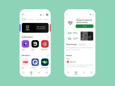 Google Play Redesign App uidesign appdesign app clean creative design google playstore minimal ui