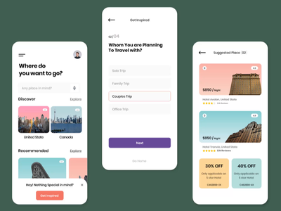 Travel App Animation animation after effects motion design animation mobile app app ux travel app uiux typography clean design creative minimal ui