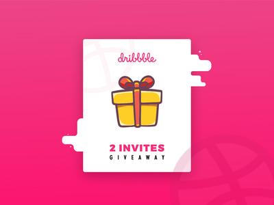 2 Dribbble invites clean minimal giveaway creative thanks illustration invite dribbble invitation gift