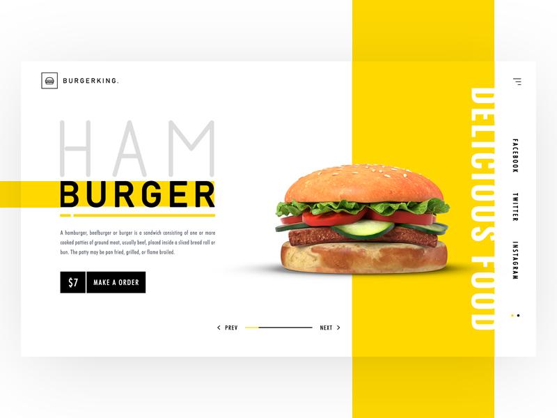 Burgerking | Food Landing page ui Design restaurant site humburger webdesign web ux creative landing page food banner