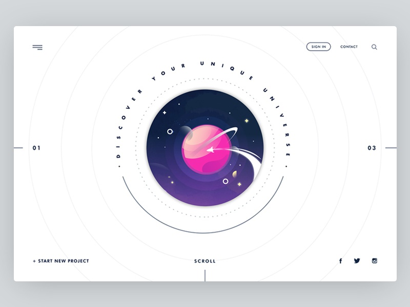 Universe | landing page design ui website minimal web landing page banner earth space