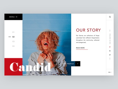Our Story design candid ui landing page creative responsive website web minimal banner our story