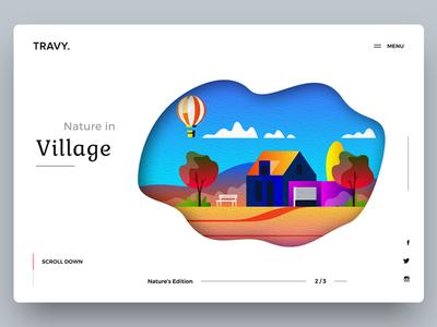 Nature ui clean minimal illistration website web banner nature village landing page creative