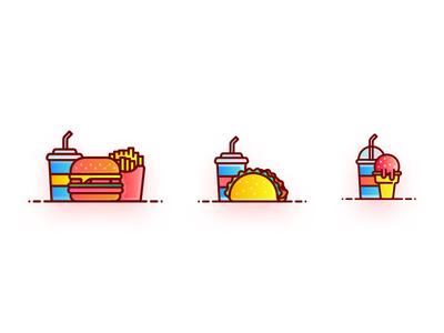 Food Icon iocns creative minimal burger gradient graphic iocn food