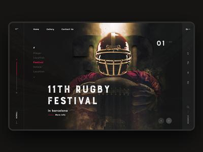 Barcelona Rugby Festival photoshop web minimal landingpage creative website banner festival rugby barcelona