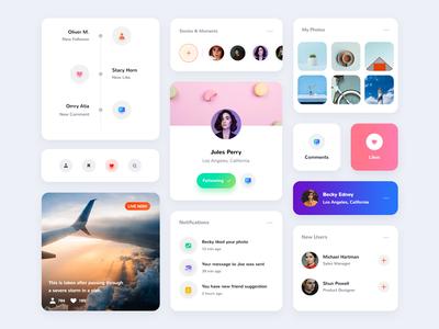 Card UI Kit - Light/Dark Layout minimal creative web light ui cards banner socialmedia