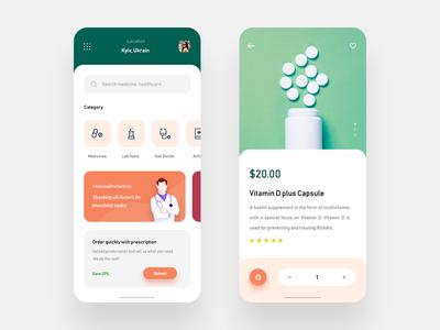 Online Pharmacy App UI Design minimalist mockup iphone x design minimal uiux ui app medical pharmacy online