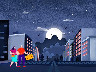 Night Illustration texture noise ui travel app design characterdesign character illustrator illustraion travel couple night
