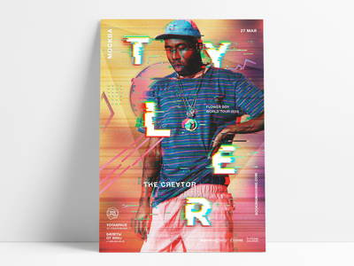 Tyler, the Creator world tour poster concept event poster event rap poster art glitch design tyler the creator musician tour poster
