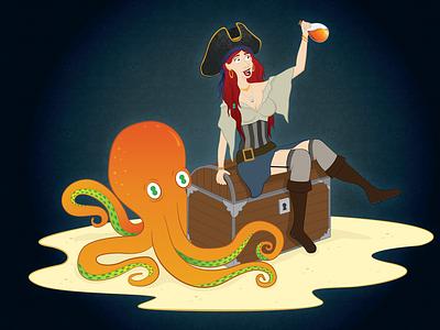 Bonnie and Otto adobe illustrator adobe island octopus woman girl treasure pirate