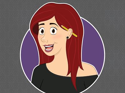 New Selfie! girl lady woman character artist digital illustrator red selfie portrait self