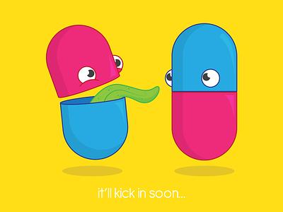 it'll kick in soon... help character drawing cartoon happy health mental depression anxiety medication medicine pills