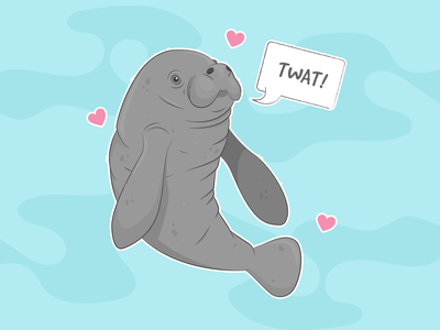 Profanity Manatee animal ocean mammal sea creature sea appreciation manatee