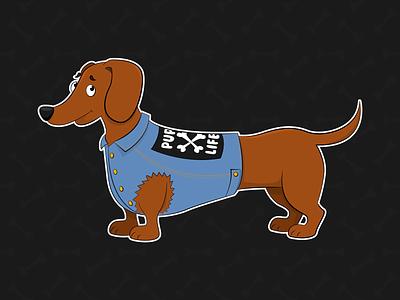 Pup Life woof character dog illustration adobe illustrator punk denim cute pet dog sausage dog daschund