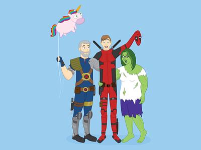 Marvel Family <3 adobe illustrator portrait art cartoon cool commission family superhero hero marvel cable hulk deadpool
