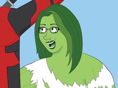 She Hulk alternative goth cartoon woman girl portrait commission green hero marvel shehulk she hulk hulk