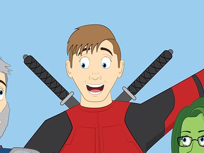 Deadpool Commission follow adobe illustrator figure cartoon teenager boy commission red ninja xmen marvel deadpool