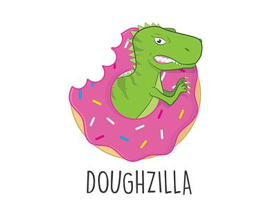 Doughzilla Logo shop open new marketing brand logo design logo branding sweet dinosaur godzilla vegan donut doughnut