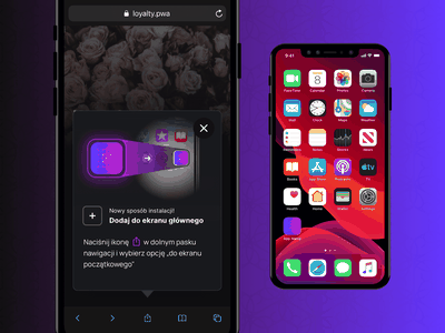 PWA - Installation modal on iOS Safari browser browser safari ios modal branding loyalty ui mockup mobile app design app pwa install